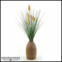 Onion Grass with Brown Dogstail in Ceramic Vase, 26 in.