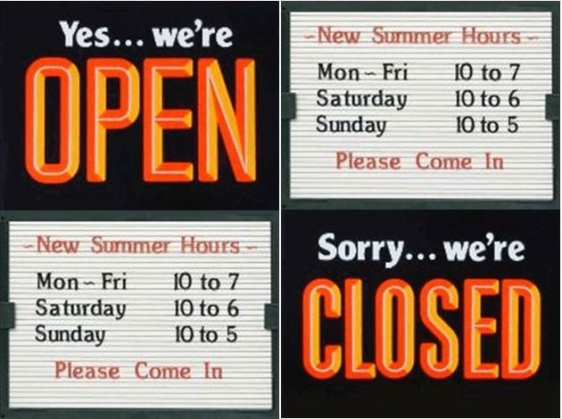 business hours signs  open and closed sign  changeable signs
