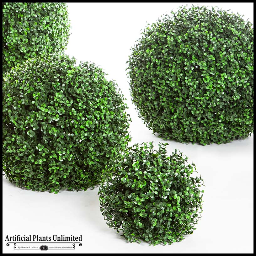 Large silk boxwood balls outdoor decor artificial for Outdoor bushes and plants