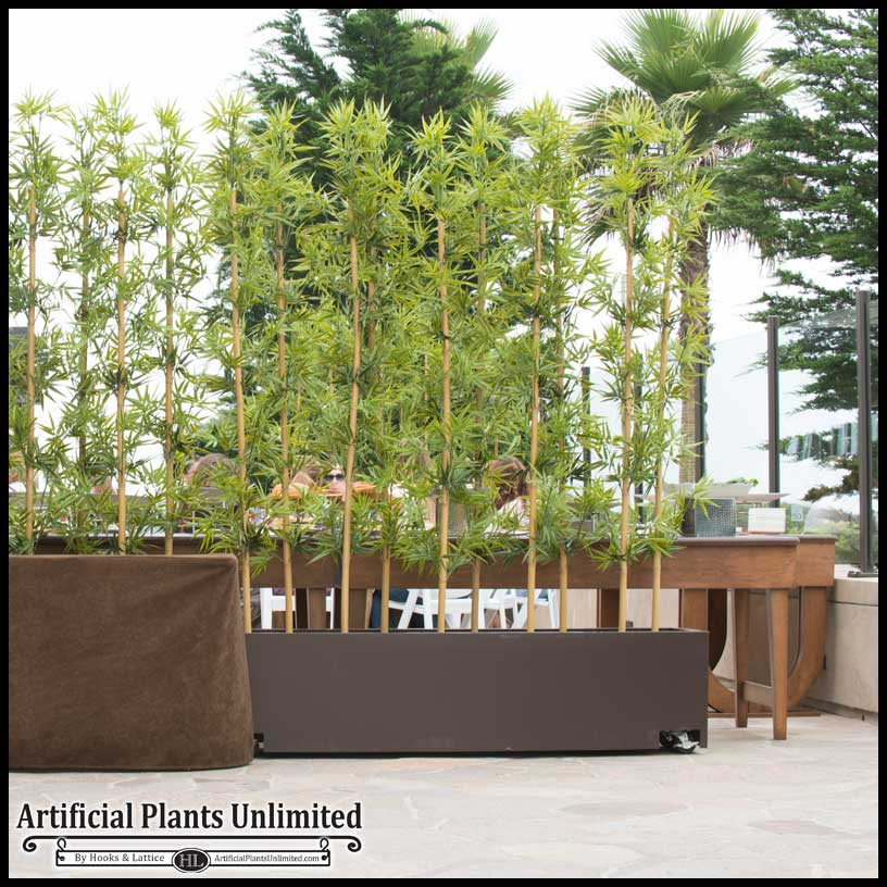 Modern Planters 4'l bamboo outdoor artificial grove in modern fiberglass planter