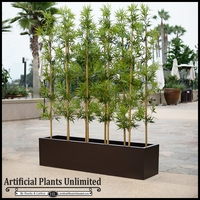 5'L Bamboo Outdoor Artificial Grove in Modern Fiberglass Planter