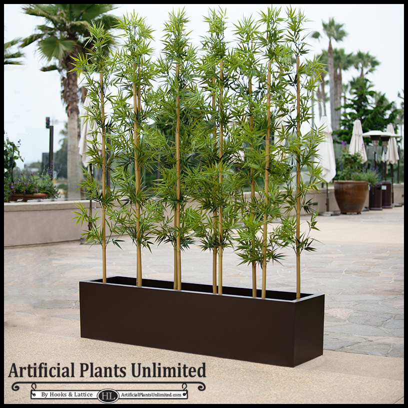 . 4 L Bamboo Indoor Artificial Grove in Modern Planter