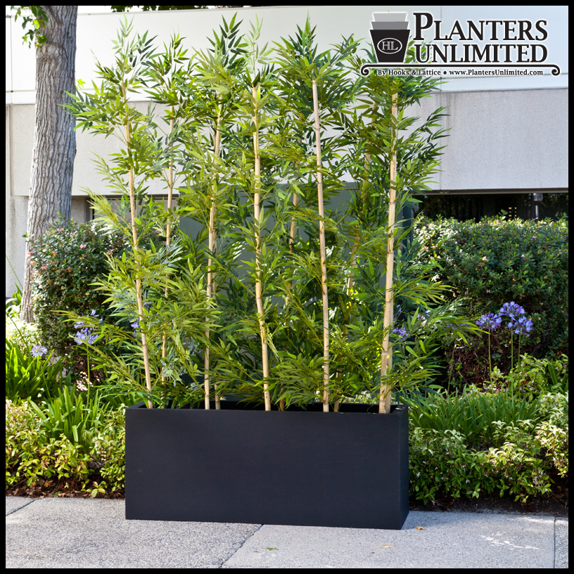 Outdoor artificial bamboo in modern planters planters Bamboo screens for outdoors