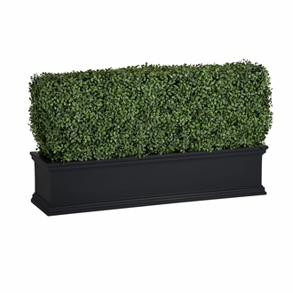 48in. Outdoor Artificial Boxwood Hedge in Black Window Box