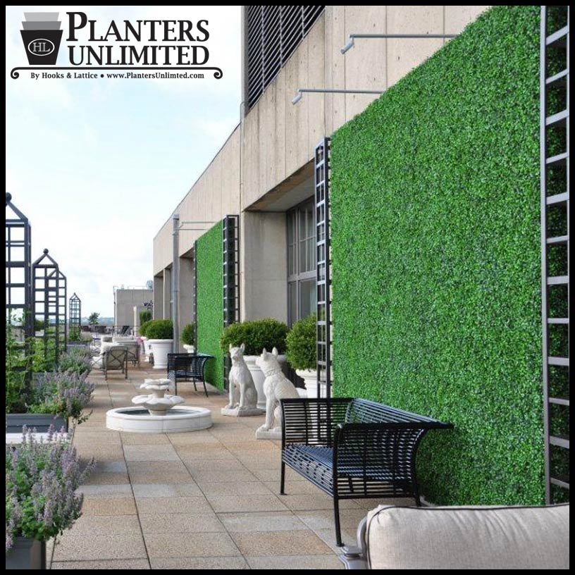 Outdoor living wall with faux boxwood artificial plants for Living outdoor wall