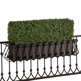 Outdoor Artificial Boxwood Hedges in Metal Window Boxes
