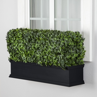 36in. Outdoor Artificial Ivy Hedge in Black Window Box