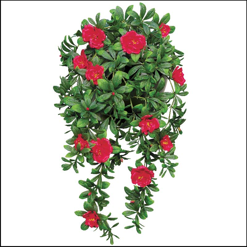 34in hanging red azalea vine outdoor artificial