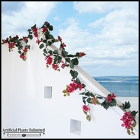 9.5' Bougainvillea Vine Garland - Red, Outdoor Rated