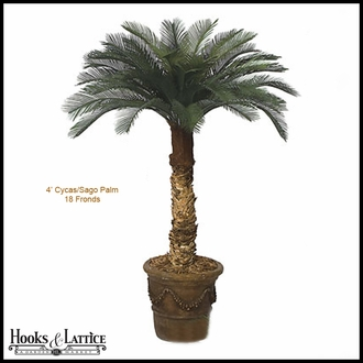 4' Artificial Cycas Palm Tree 18 Fronds, Outdoor Rated