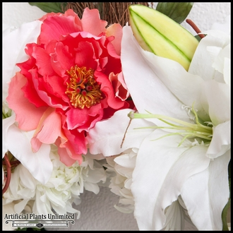 Peaceful Peonies in Serenity - Artificial Silk Funeral Flowers