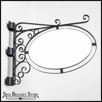 Pole or Post Mount Double Oval Sign Frame w/ Scroll   Includes 26in. x 17in. x 1in. Oval Blank
