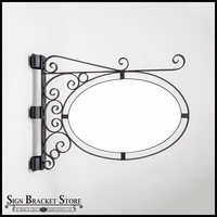 Pole or Post Mount Double Oval Sign Frame w/ Scroll | Includes 26in. x 17in. x 1in. Oval Blank