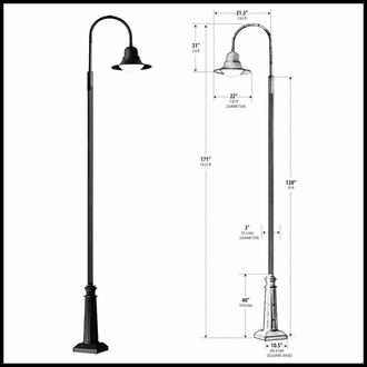 Post Mount Single Arm Light - 120v Powder Coated Cast Aluminum Street Light - Powder Coated Black