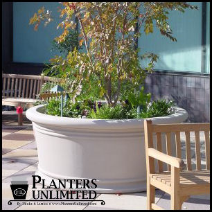 Click to enlarge. Large Round Commercial Fiberglass Planters