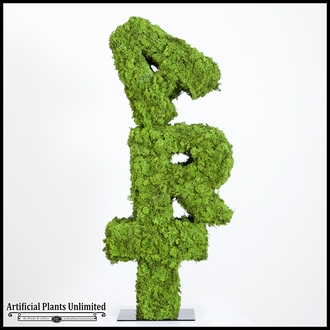 4'H Preserved Moss Custom Letter or Logo Topiary