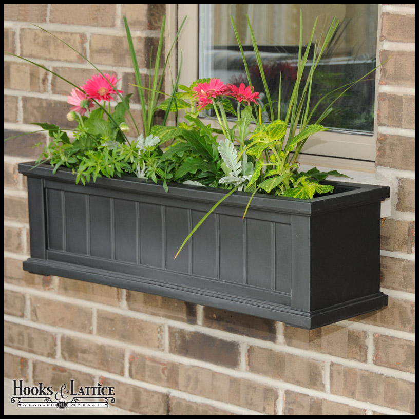 36 black window box planters flower boxes hooks lattice. Black Bedroom Furniture Sets. Home Design Ideas