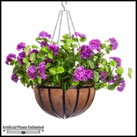 Purple Silk Geranium in English Garden Hanging Basket