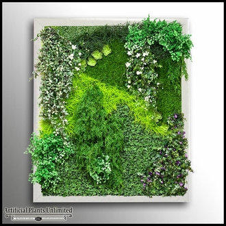 Replica Indoor Artificial Living Wall 120in.L x 84in.H w/ 12in. Frame