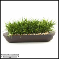 28in. River Grass in Oblong Wooden Planter