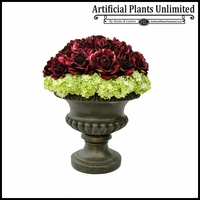 Rose Delight Urn with Hydrangea Accents
