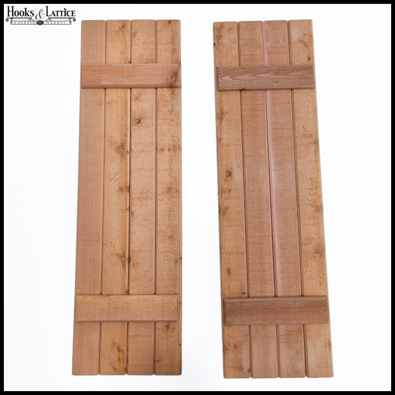 Rustic Wood Exterior Shutters - Pair | Hooks & Lattice