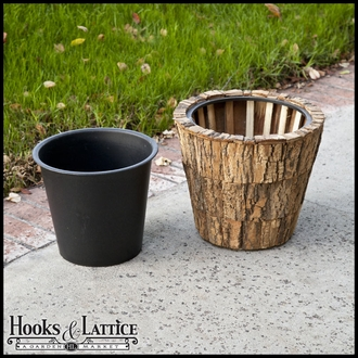 Round Natural Bark Planters