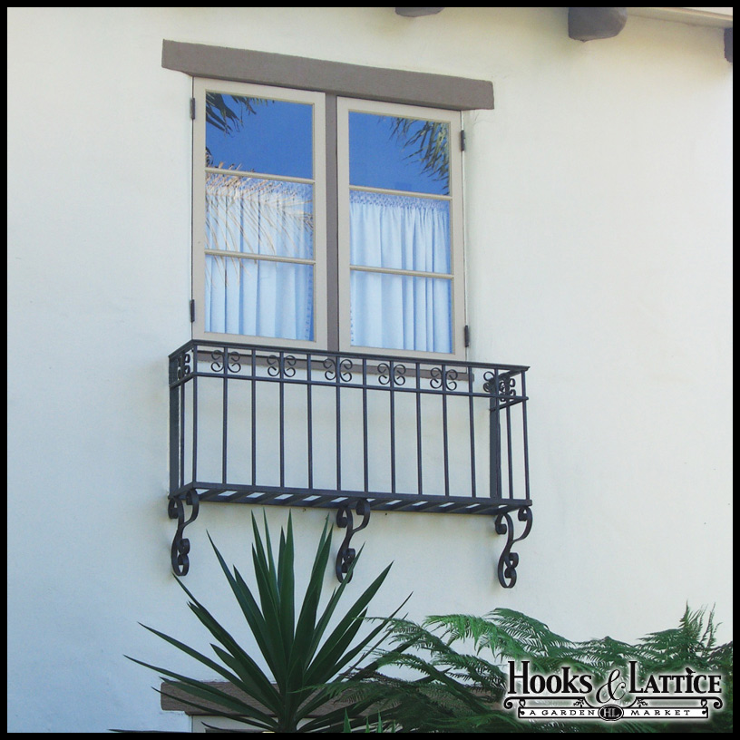 Salerno faux balcony w 8in wall offset and wall scrolls for Modern french balcony