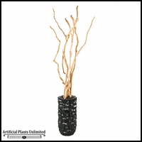 Sandblasted Dragonwood Trunks in Tall Black Contemporary Resin Vase, 7'