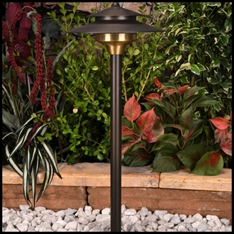 Saturn Low Voltage Path Light - Weathered Brass