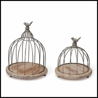 Set of 2 Wide Wood and Wire Bird Cage Centerpieces