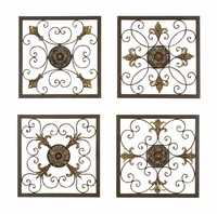 """Set of Four 16""""W x 16""""H Square Panel Scroll Wall Decor"""