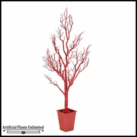Shiny Red Spiky Tree in Square Metal Planter, 6'