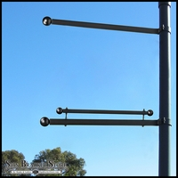 Single Trapeze Banner Bracket, One-Way Bracket, Any Size/Shape Pole Mount for 24in.W Banner