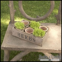 Six Clay Moss colored Pots with Wood Crate
