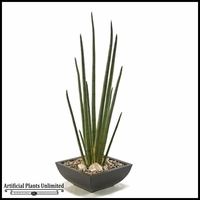 Snake Plant in Square Metal Planter, 34 in.