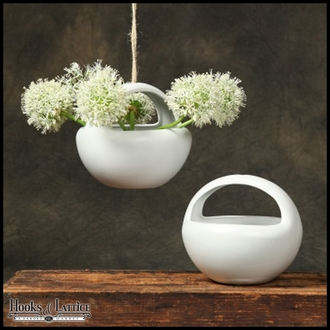 Sphere Lunar Hanging Bowl Planter - White