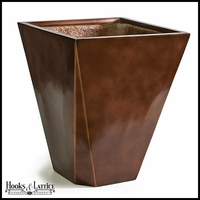 Square and Modern Tapered Fiberglass Planter - Glossy Brown