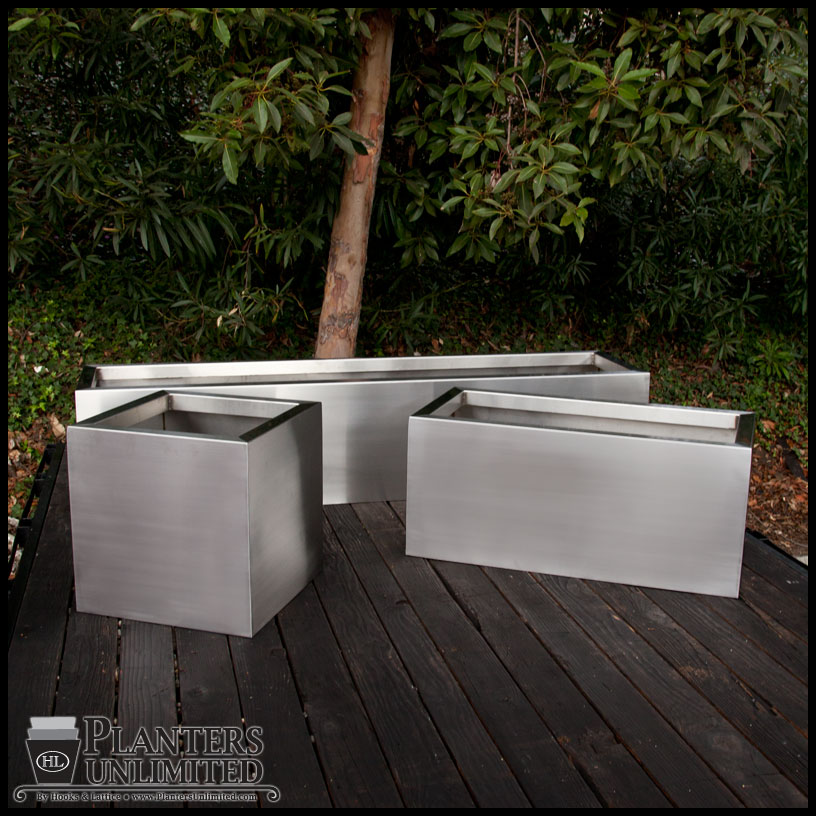 Stainless Steel Commercial Planter 12in L X 12in W X 18in H
