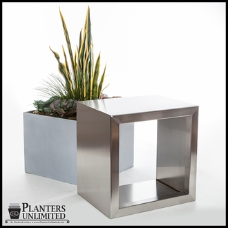 Stainless Steel Commercial Planter 12in.L x 12in.W x 18in.H