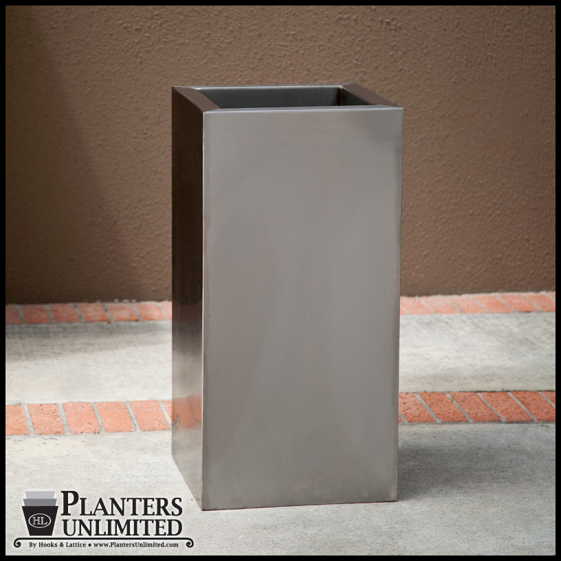 Stainless Steel Commercial Planter 12in L X 12in W X 24in H