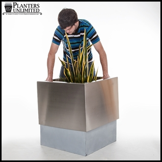 Stainless Steel Commercial Planter 18in.L x 18in.W x 18in.H