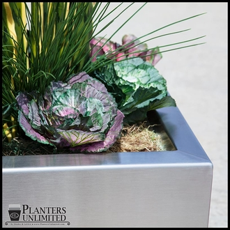 Stainless Steel Commercial Planter 24in.L x 24in.W x 18in.H