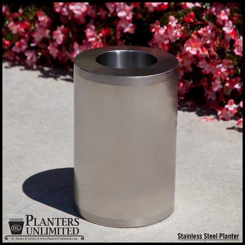 Stainless Steel Cylinder Planter Click To Enlarge