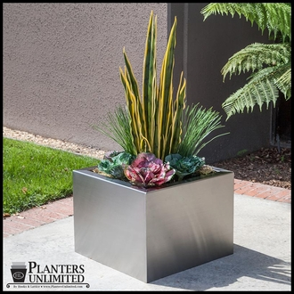 Stainless Steel Slip-Over Planter with Liner