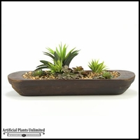 29in. Succulent and Echeveria in Oblong Wooden Planter