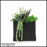 24in. Succulent Arrangement Garden in Black Woven Planter