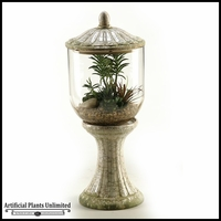 23in. Succulents Aloe and Echeveria in Glass and Ceramic Terrarium with Lid