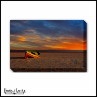 Sunset Boat A Shore - Canvas Artwork