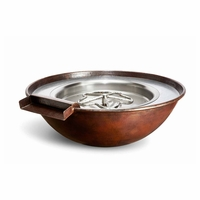 Tesoro Hammered Copper Complete Fire Bowl with Water Feature